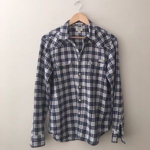 Lucky Brand Blue Plaid Classic Fit Western Shirt